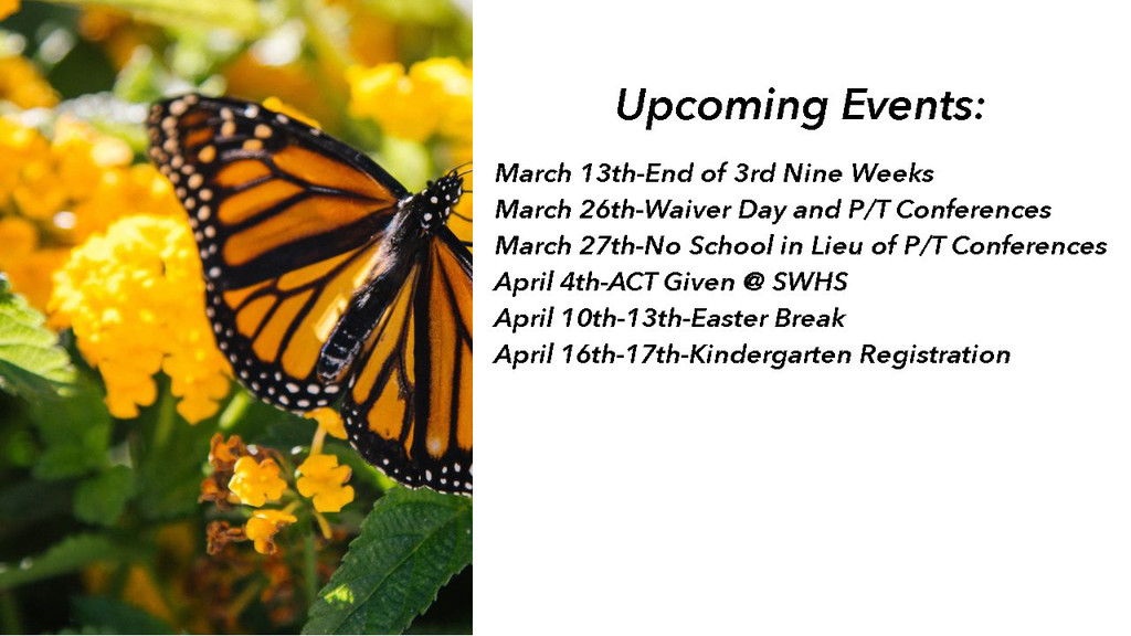 Upcoming Events March-April